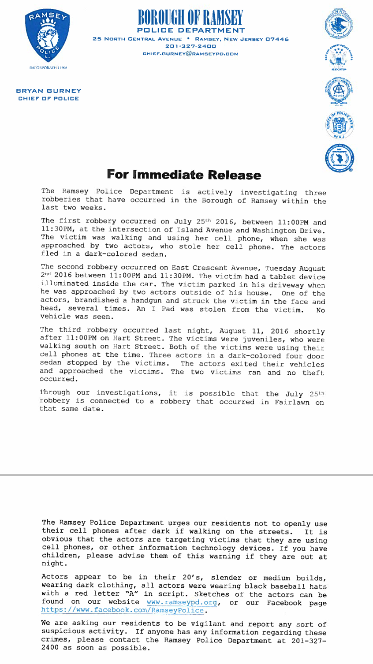 Chief Press Release